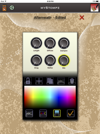 MyStompz iPad Screenshot - Editing pedal's background color