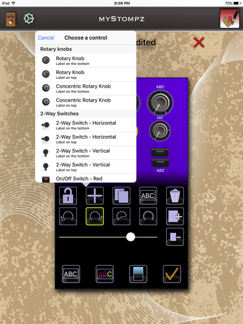 MyStompz iPad Screenshot - List of available controls